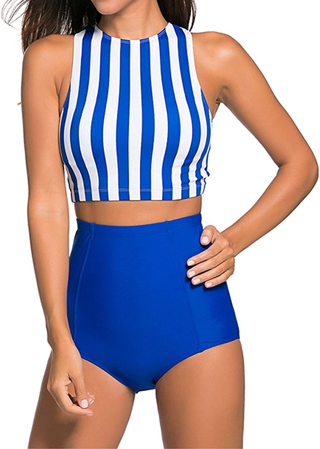 Blue & White Stripe Padded Tankinis Bathing Suit with High Waisted Sport Shorts