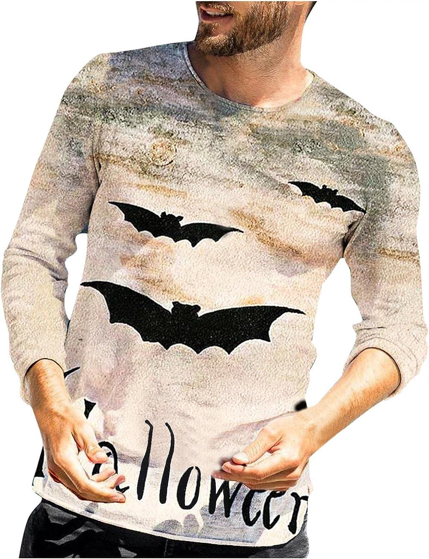 XUNFUN Halloween Long Sleeve Tee Shirts for Men Funny Realistic 3D Digital Print Casual Lightweight Crewneck Pullover Tops