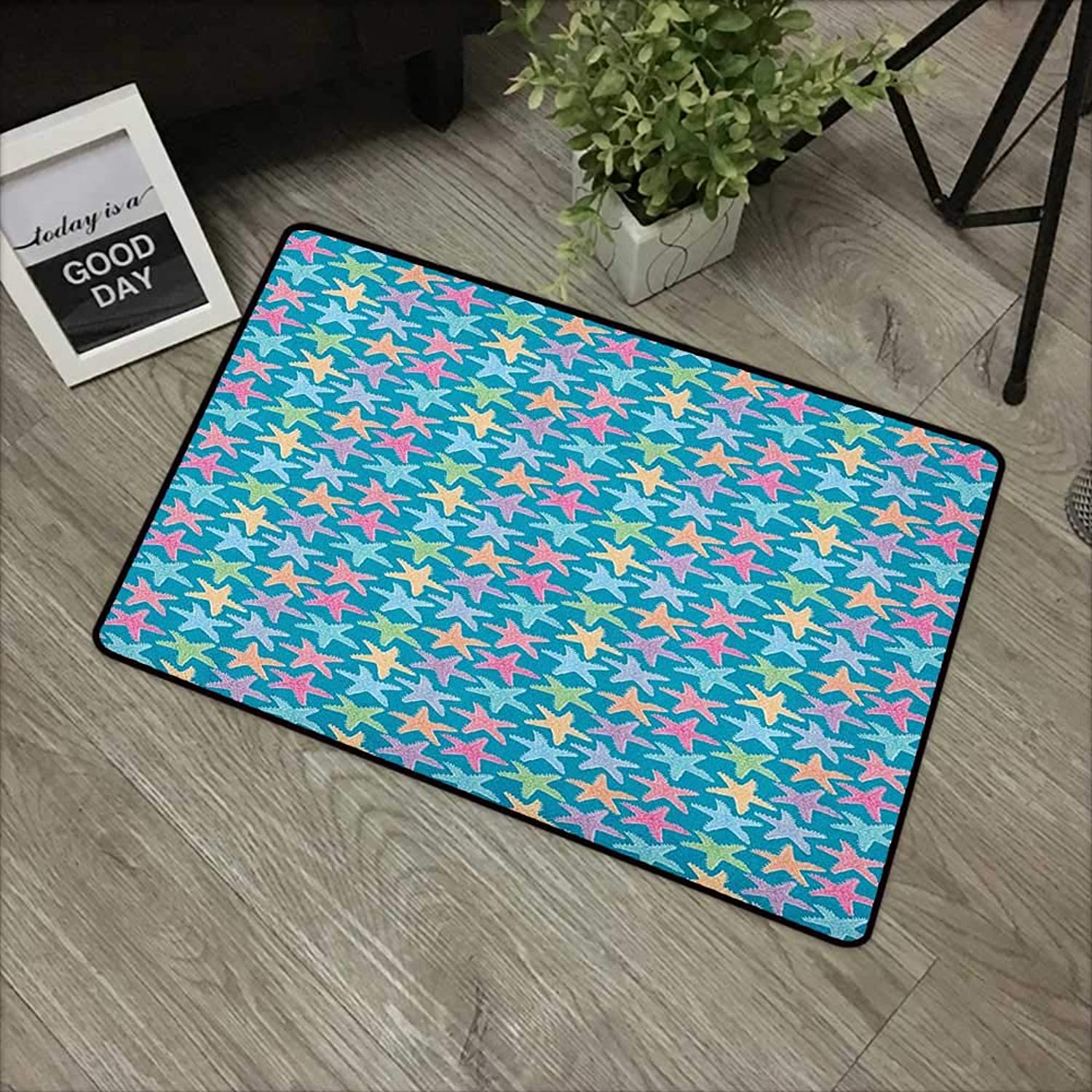 Door mat W35 x L59 INCH Starfish,Hand Drawn Sketch Illustration of Exotic Seastars Nautical Animal Arrangement, Multicolor Natural dye Printing to Predect Your Baby's Skin Non-Slip Door Mat Carpet