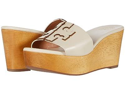 Tory Burch 80 mm Ines Wedge Slide (New Cream/Gold 1) Women