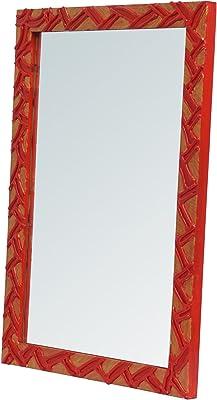 999Store Handmade Wooden Decorative Bathroom Mirror Multicolour Zig zag Wall Small Mirror