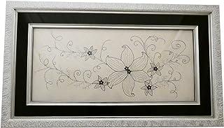 Cuadro decorativo con grabado pintado a mano. Triple marco de madera de diferentes acabados. Con cenefa de vidrio negro. C...