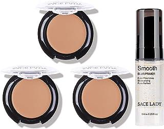 3 Pack Full Coverage Concealer Cream Makeup & 1PC Pore Minimizer Face Foundation Primer, Waterproof Matte Smooth Concealer...