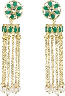 Efulgenz Indian Bollywood Bohemian 14K Gold Plated Crystal Faux Pearl Kundan Dangle Jhumka Jhumki Earrings Jewelry Set