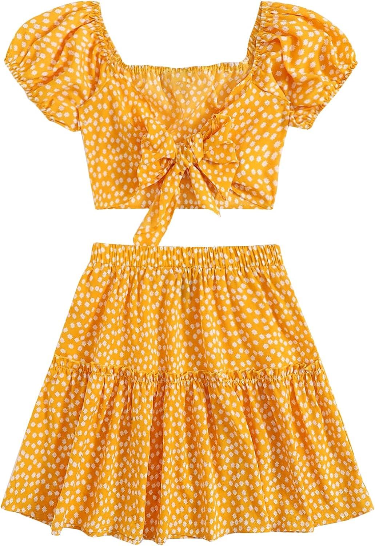 SheIn Women's Plus Puff Sleeve Tie Front Crop Top and High Waist Skirt Set