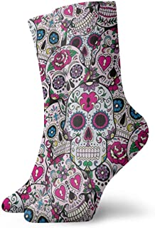 tyui7, Calcetines deportivos de alto rendimiento con diseño de calavera de azúcar de flores rosas para hombres/mujeres, se adapta a correr/viajar/andar en bicicleta