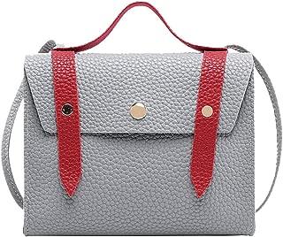 Waymine Women's Shoulder Bags Hasp Hit Color Panelled PU Messenger Bag Square Coin Phone Bag
