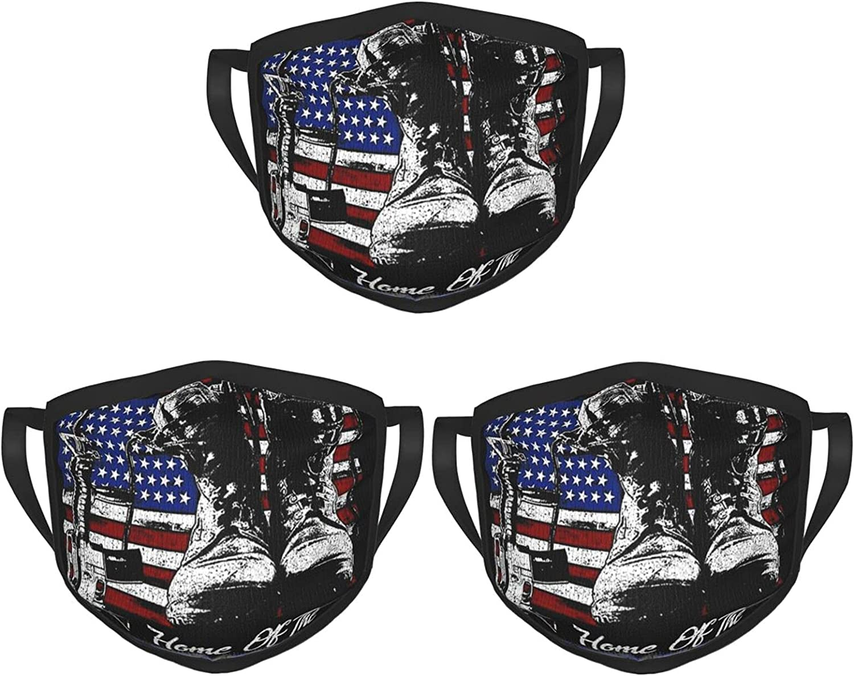 Balaclava Earmuffs American Flag Veteran Boot Weapon Gun Face Mouth Cover Mask Reusable Dust Scarf Towel Cover Headwrap