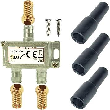 TronicXL 2 Vias Distribuidor de antena digital para satélite Splitter / Combinador de Cables Divisor de señal para Cable Televisión conector F con ...