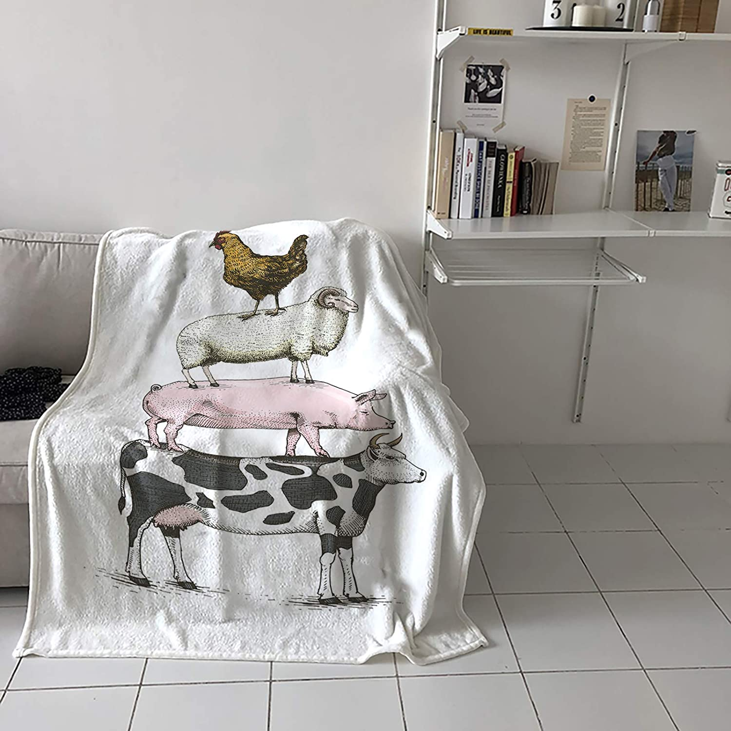 Limited time trial price Advancey Max 55% OFF Super Soft Blankets and Throws Farm Lam Pig Cow Animals