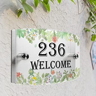JEXICASE Customized Personalised Door Plate, Hand-Painted Flowers Pattern Acrylic Modern House Arc Frosted Sign Door Number Name Road Plaque-Hand-Painted Flowers Layout 2