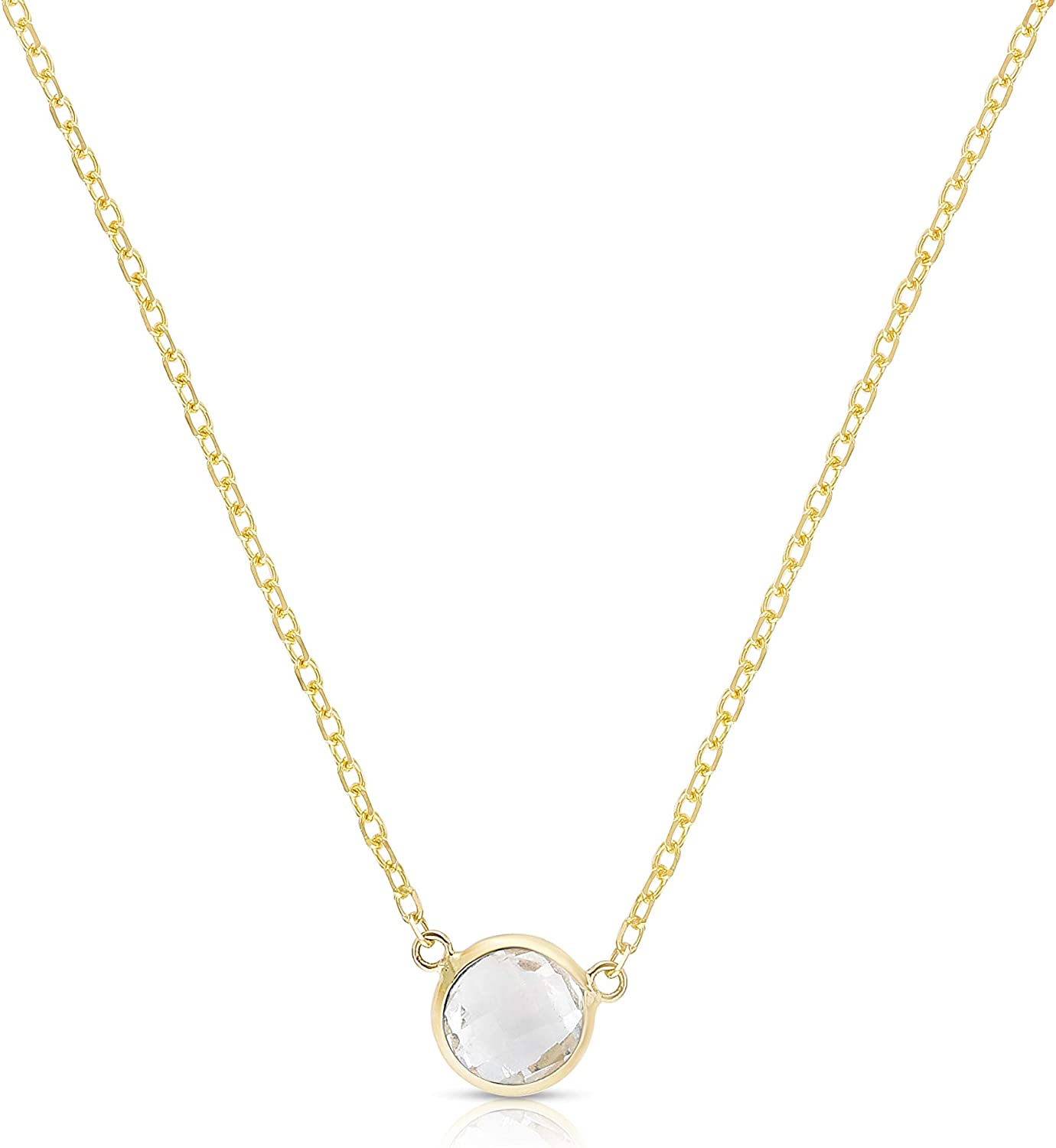 Floreo Super beauty product restock quality top 14k Yellow or Rose Solitaire Round Pendant Gemstone We OFFer at cheap prices Gold