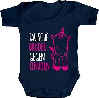 ShirtStreet süßer Unicorn Strampler Bio Baumwoll Baby Body kurzarm Mädchen Tausche Bruder gegen Einhorn Premium