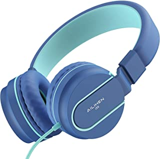 AILIHEN I35 Kid Headphones with Microphone Volume Limited Childrens Girls Boys Teens Lightweight Foldable Portable Wired Headsets for School Airplane Travel Cellphones Tablets (Blue)