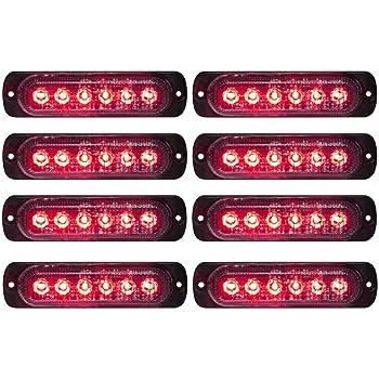 4pcs LED Emergency Strobe Lights Bar 6 LED Strobe Warning Emergency Flashing Light Caution Construction Hazard Light Bar For Car Truck Van Off Road Vehicle ATV SUV Surface Mount red/&white