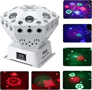 Stage Lights, Sound Activated RGB Party Lights DJ Lighting, 63 LED bar Lights and DMX Control for Church, Wedding, Stage Lighting Birthday Party(need an adapter) (Laser and Pattern)