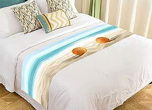 Custom Summer Beach Seashell Sea Sand Blue Ocean Bed Runner Bedding Scarf Size 20x95 inches