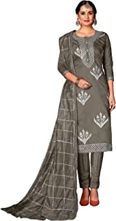 Rajnandini Modal Silk Applique Unstitched Salwar Suit Material for Women