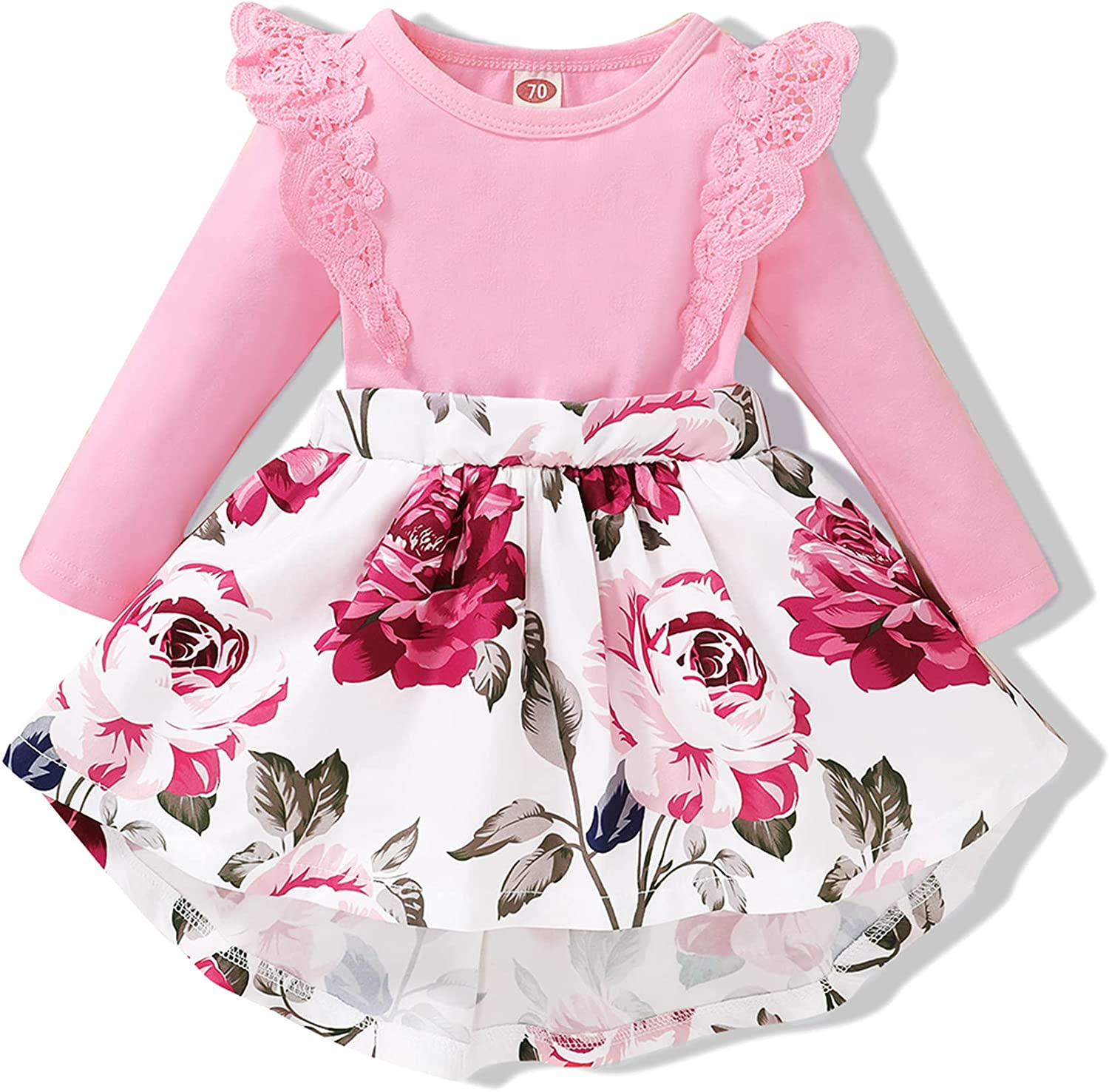 OLLUISNEO Infant Baby Girl Dress Fall Winter Outfits Flower Long Sleeve Dress for Girls Newbron Baby Girl Clothes