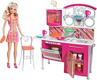 Amazon Com Dollhouse Furniture Barbie Kitchen Furniture Dollhouse Accessories Toys Games