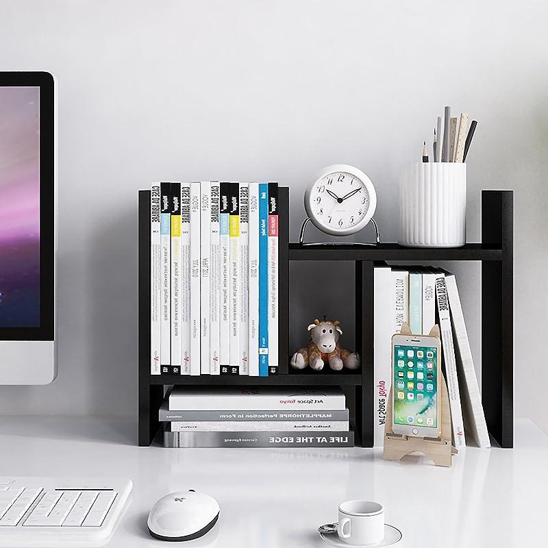 Jerry Maggie Desktop Organizer Office Storage Rack Adjustable Wood Display Shelf Free Style Double H Display True Natural Stand Shelf Black