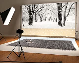 7(W) x5(H) ft(220x150cm) Snow Photography Backdrops Wood Floor Studio Photo Backgrounds Snowflake Forest Branches Backdrop for Christmas