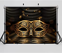 SJOLOON 7X5ft Masquerade Backdrop Glossy Golden Framed Mask Dark Retro Rhombus Marble Floor Stage Background for Party Decoration 11080