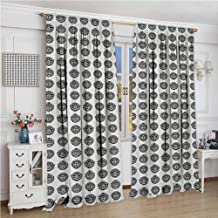 GUUVOR Tattoo All Season Insulation Traditional Tribal Masks Monochromatic Cultural Polynesian Archaic Totem Symbols Noise Reduction Curtain Panel Living Room W96 x L72 Inch Black White