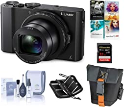 Panasonic Lumix DMC-LX10 4K Digital Point and Shoot Camera, 20.1 Megapixel 1-inch Sensor Bundle with Camera Bag, 32GB SD Card, SD Card Case, PC Software Kit, Cleaning Kit