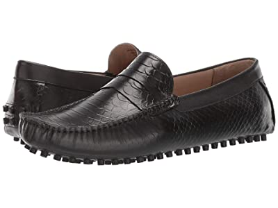CARLOS by Carlos Santana Jorge Driver Loafer (Black Croco Print Calfskin Leather) Men