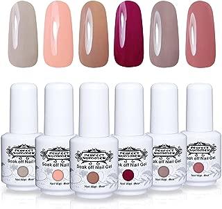 Perfect Summer Soak Off Gel Nail Polish - UV LED Gel Polish Nail Varnish Gift Kits, Pack of 6 Colors 8ML#001