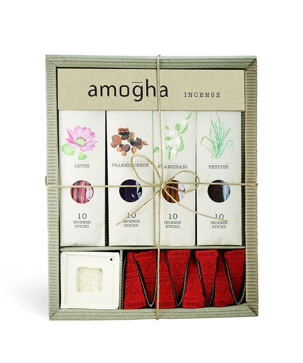 揮発性劇的好戦的なIris Amogha Incense with 10 Sticks - Lotus, Frankincense, Frangipani & Vetiver Gift Set