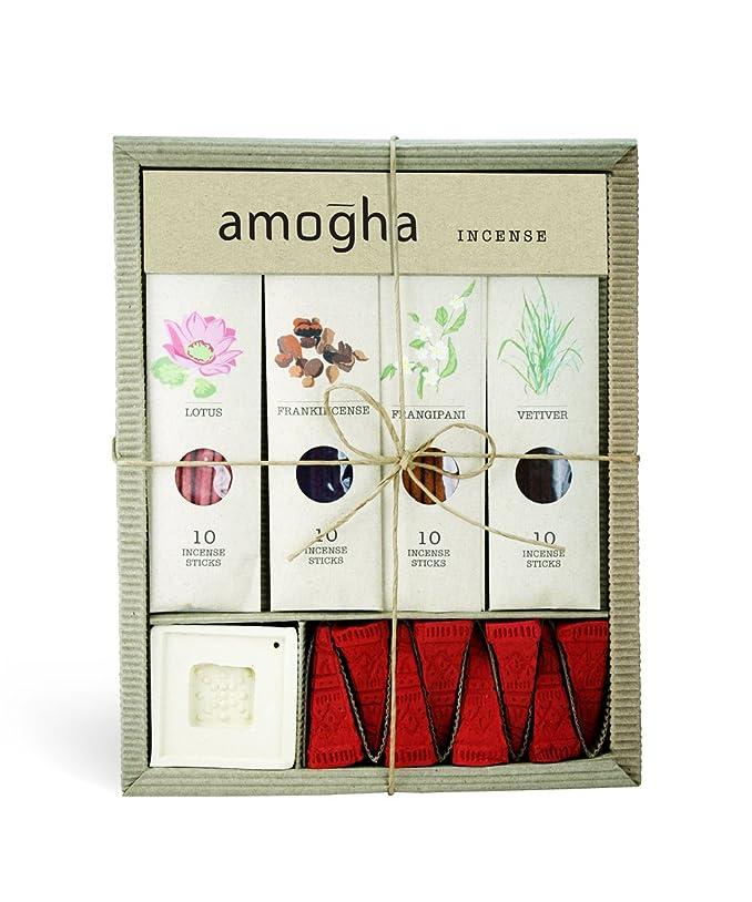 のスコア乳衰えるIris Amogha Incense with 10 Sticks - Lotus, Frankincense, Frangipani & Vetiver Gift Set