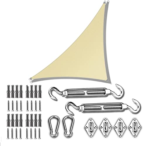 high quality ColourTree 24' x 24' x 33.9' Beige Sun wholesale Shade sale Sail with Triangle Hardware Kit (Hardware Kits Only) online sale