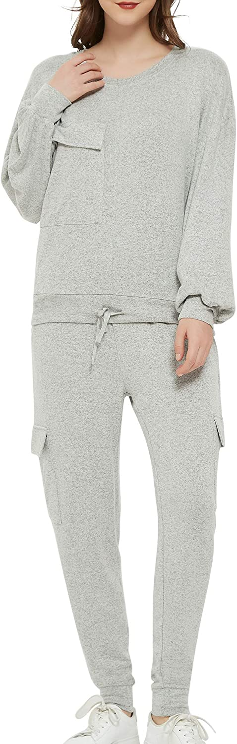 Woolicity Women's Sweatsuits Set 2 Sleeve Tra Long Max 46% OFF Year-end annual account Piece Jogging