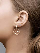 AZCOO - Silicone Earring for sensitive ears | Gold - Rhine Stone and Pearl Drop Earring with Gift Bag | Handmade in USA | Hypoallergenic Flexible Comfortable silicone-plastic post and back(catch)