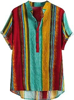 Mens Cotton Linen Shirts Striped Short Sleeve Henley Shirt Stand-Up Collar Boho Relaxed-Fit Casual Beach Tops Summer