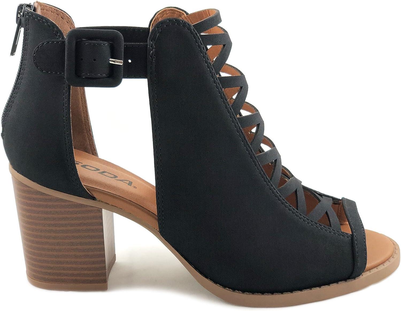 SODA Womens Fahsoin Aran Open Toe Heel Sandal