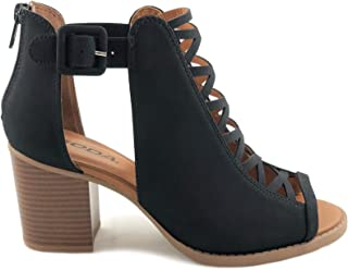 Best black heel booties open toe Reviews