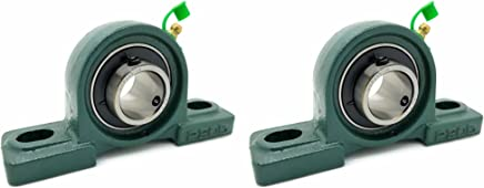"Two (2) UCP205-16 Cast Iron Pillow Block Mounted Bearings - 1"" Inch Inside Diameter w/Set Screw Lock - P205"