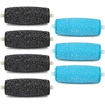 7 Pack Include 4 Extra Coarse & 3 Regular Coarse Replacement Roller Refill Heads Compatible with Amope Pedi Pefect Electronic Foot File