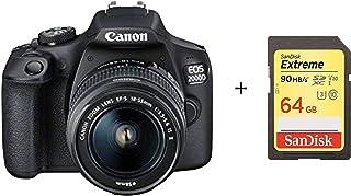 Cámara Canon EOS 2000D DSLR y EF-S 18-55 mm f/3.5-5.6 IS II con Tarjeta de Memoria Sandisk 64G