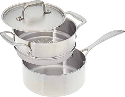 American Kitchen Cookware Stainless Steel Saucepan with Steamer Insert and Cover, 2-Quarts