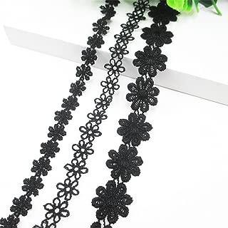 15 Yards Total 100% Cotton Black Flower Lace Trim Applique Sewing DIY Craft Make Clavicle Necklace Bracelet Anklet (3 Rolls 5 Yards Each)