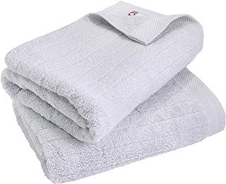 hiorie(ヒオリエ) 今治タオル 認定 バスタオル ふわふわリブタオル 2枚セット ミストグレー 日本製 貴重な超長綿使用 今治ブランド