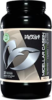 MUSCLE FEAST Grass Fed Micellar Casein, All Natural, Hormone Free, Slow Digesting, 100% Pure, 19g Protein, 88 Calories (Va...