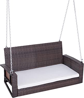 Outsunny 2-Person Wicker Hanging Porch Swing Bench Outdoor Chair with Cushions, Cream White