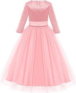 OBEEII Girls Velvet Long Dress Winter Fall Maxi Gown 3/4 Sleeve Princess Party Dresses