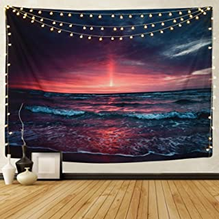 Martine Mall Tapestry Wall Tapestry Wall Hanging Tapestries Hawaiian Wave Wall Tapestries, Splendid Sea with Sun Wall Blanket Wall Art for Home Living Room Dorm Decor, 59.1