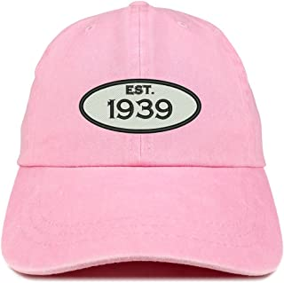 Trendy Apparel Shop Established 1939 Embroidered 80th Birthday Gift Pigment Dyed Washed Cotton Cap